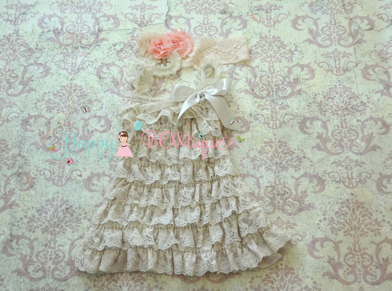 Champagne Blush Peach Lace Dress set - Happy BOWtique - children's clothing, Baby Girl clothing