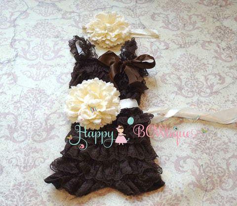 Chocolate Ivory Flower Romper set - Happy BOWtique - children's clothing, Baby Girl clothing