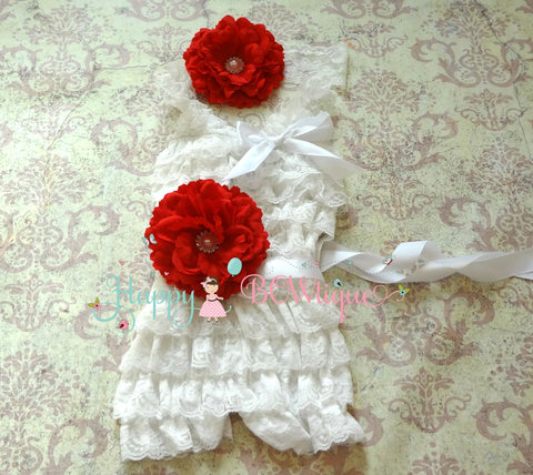 Victorian White Red Flower Lace Romper set - Happy BOWtique - children's clothing, Baby Girl clothing