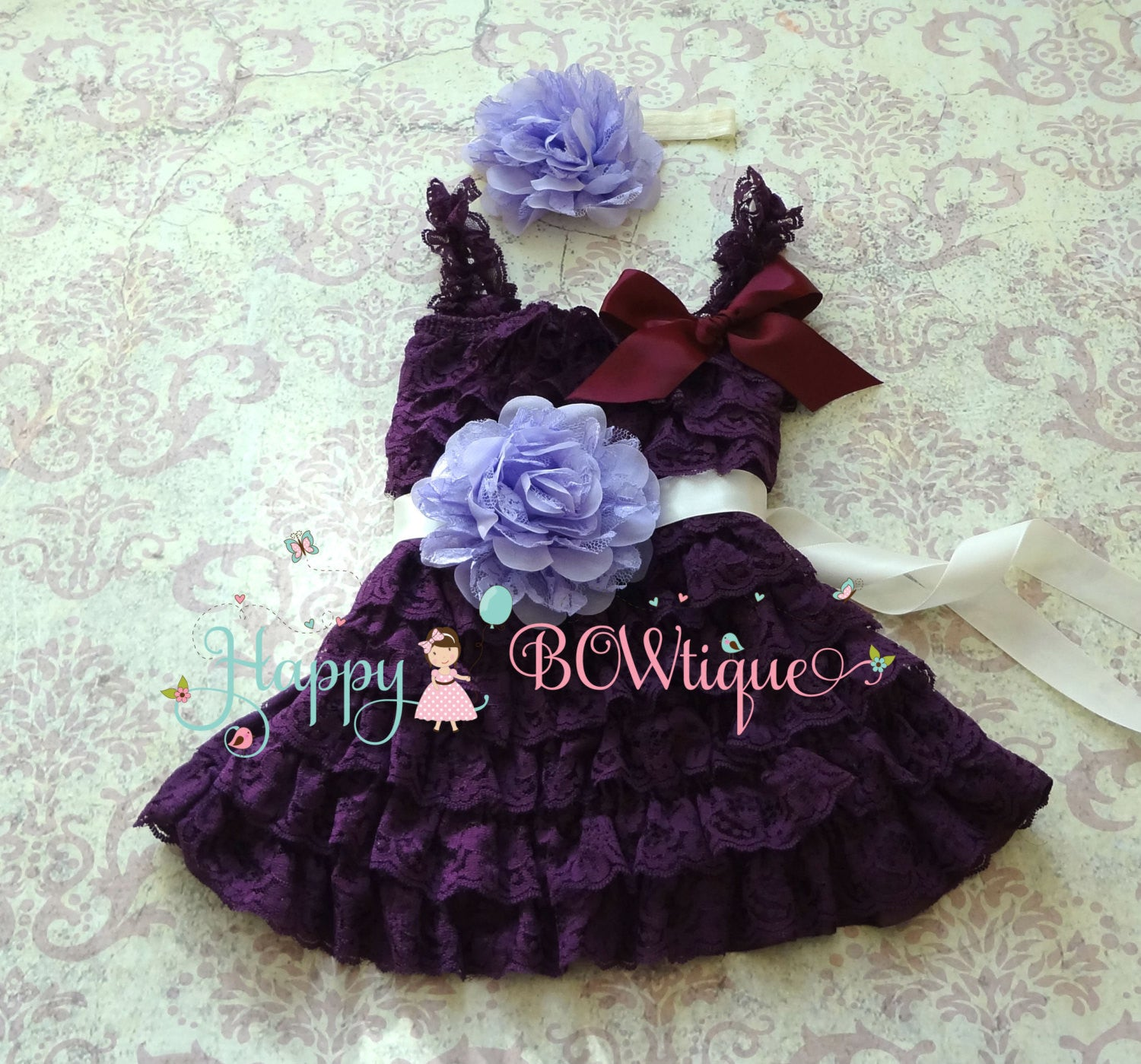 Girl's Purple Dress/ Girl's Purple Lavender Plum Dress set - Happy BOWtique - children's clothing, Baby Girl clothing