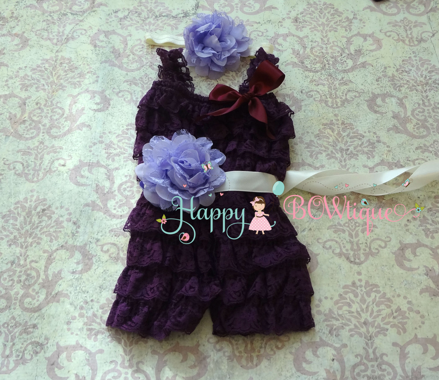 Purple Lavender Plum Flower lace Romper set - Happy BOWtique - children's clothing, Baby Girl clothing