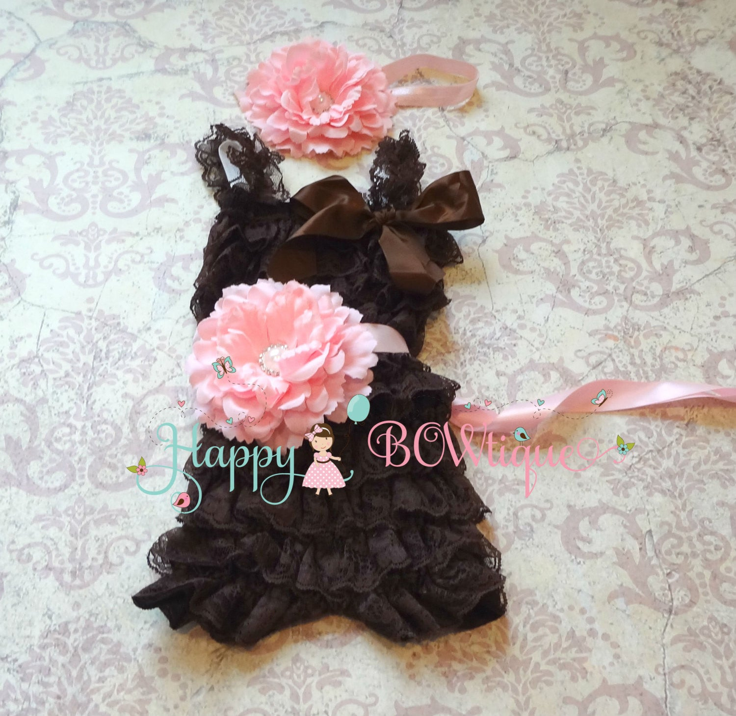 Chocolate Pink Flower Romper set - Happy BOWtique - children's clothing, Baby Girl clothing