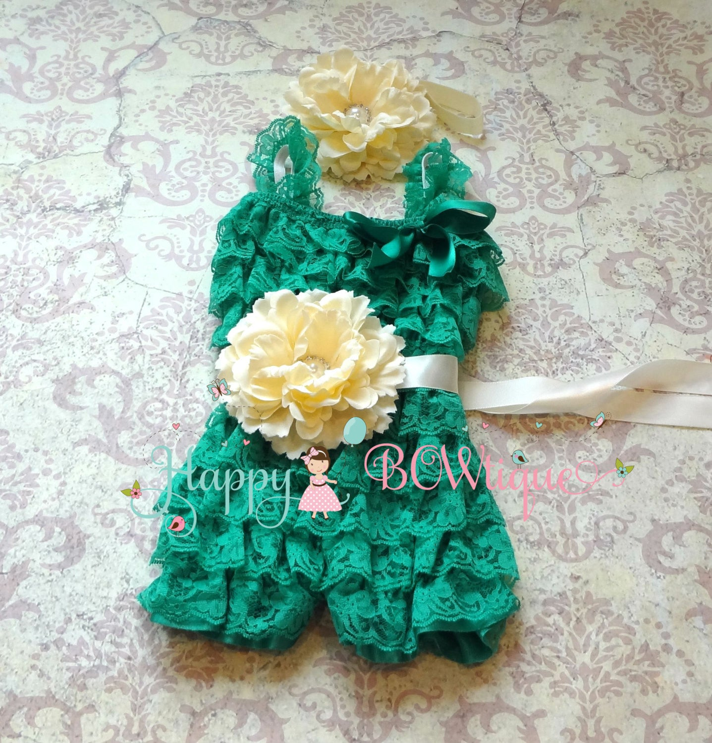 Sea Green Lime Flower Romper set - Happy BOWtique - children's clothing, Baby Girl clothing