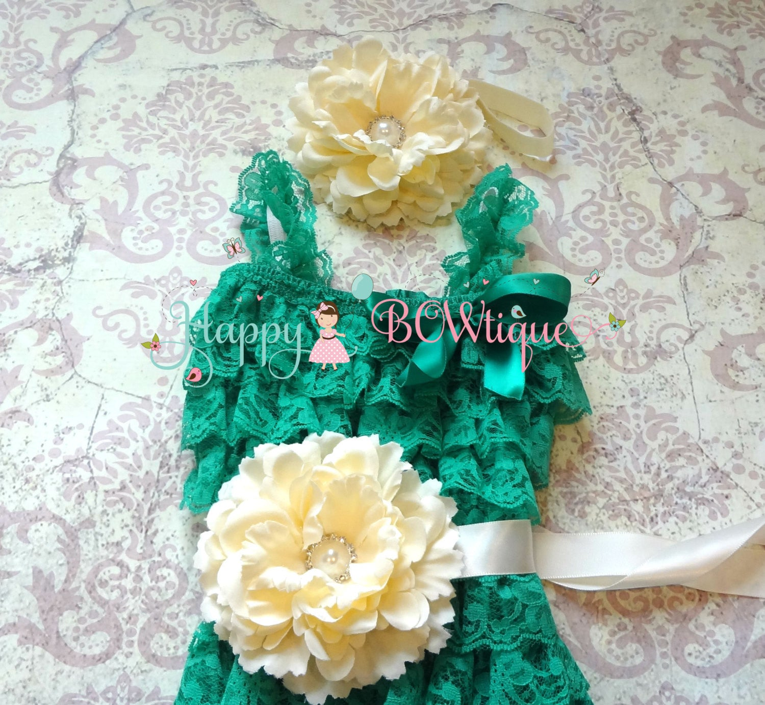 Ivory Sea Green Flower Romper set - Happy BOWtique - children's clothing, Baby Girl clothing