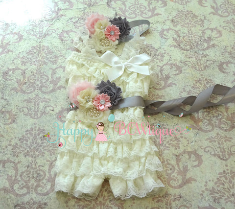 Ivory Pink Grey Lace Romper set - Happy BOWtique - children's clothing, Baby Girl clothing