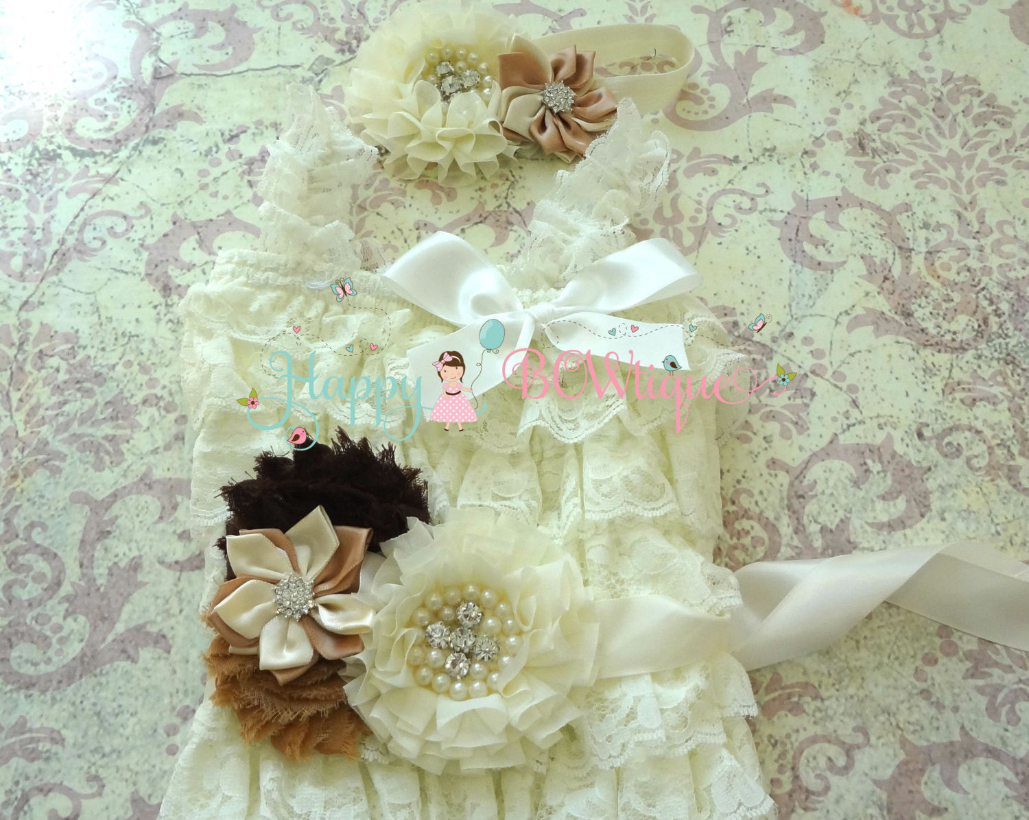 Rustic Ivory Tan Lace Romper Set, - Happy BOWtique - children's clothing, Baby Girl clothing