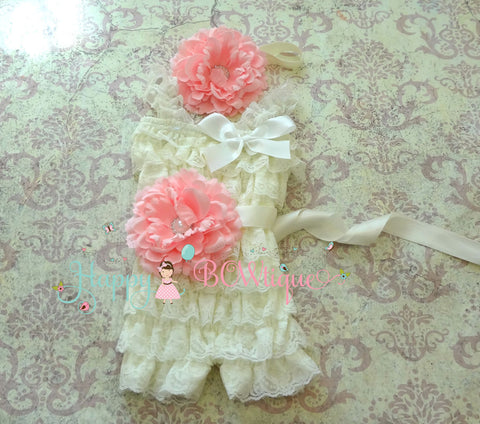 Ivory Pink Flower Lace Romper set - Happy BOWtique - children's clothing, Baby Girl clothing