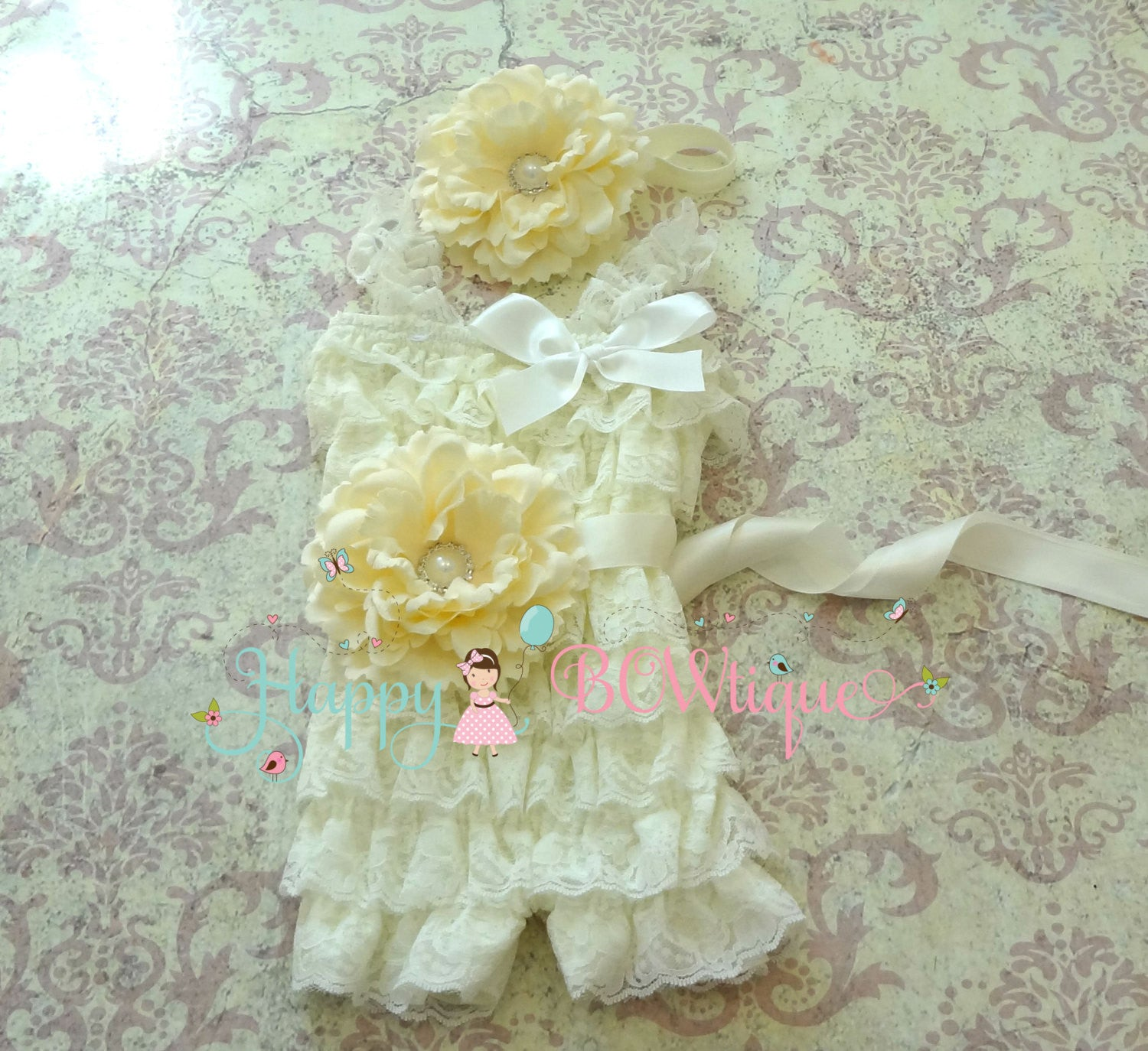 Ivory Flower Lace Romper set - Happy BOWtique - children's clothing, Baby Girl clothing