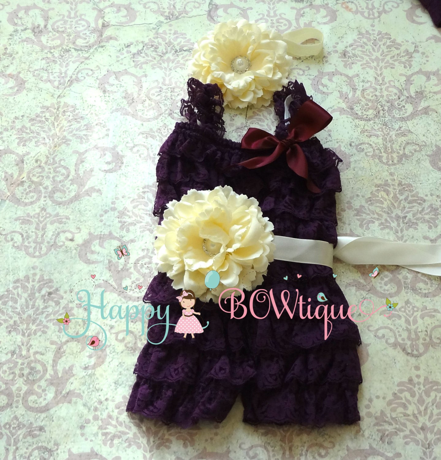 Purple Ivory Plum Flower lace Romper set - Happy BOWtique - children's clothing, Baby Girl clothing