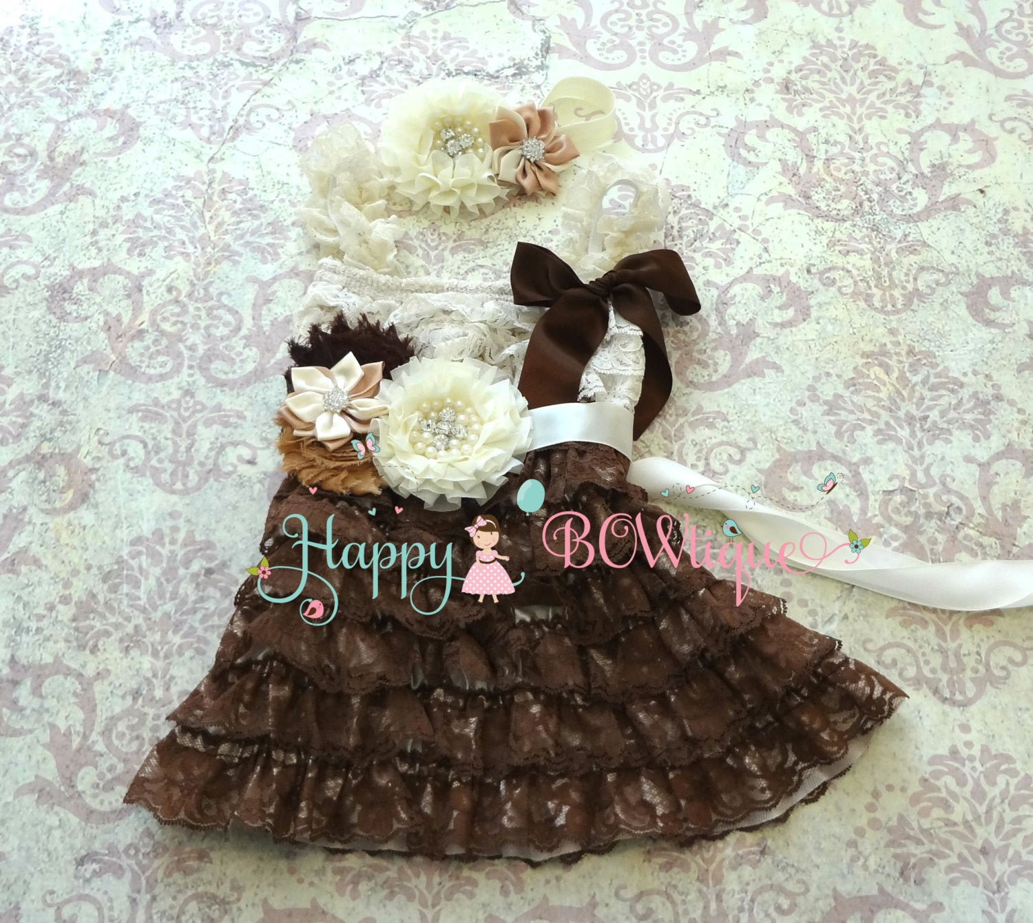 Country Flower girls dress/ Girl's Rustic Chocolate Beige Lace Dress set - Happy BOWtique - children's clothing, Baby Girl clothing