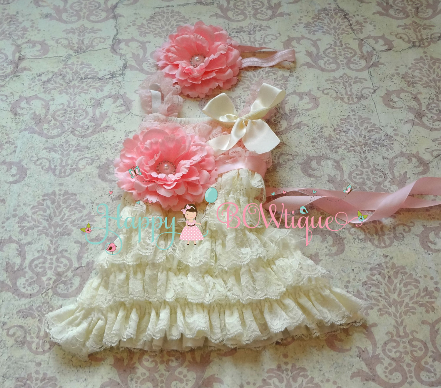 Ivory Flower girl dress/ Ivory Blush Pink Girl's Lace Dress set - Happy BOWtique - children's clothing, Baby Girl clothing