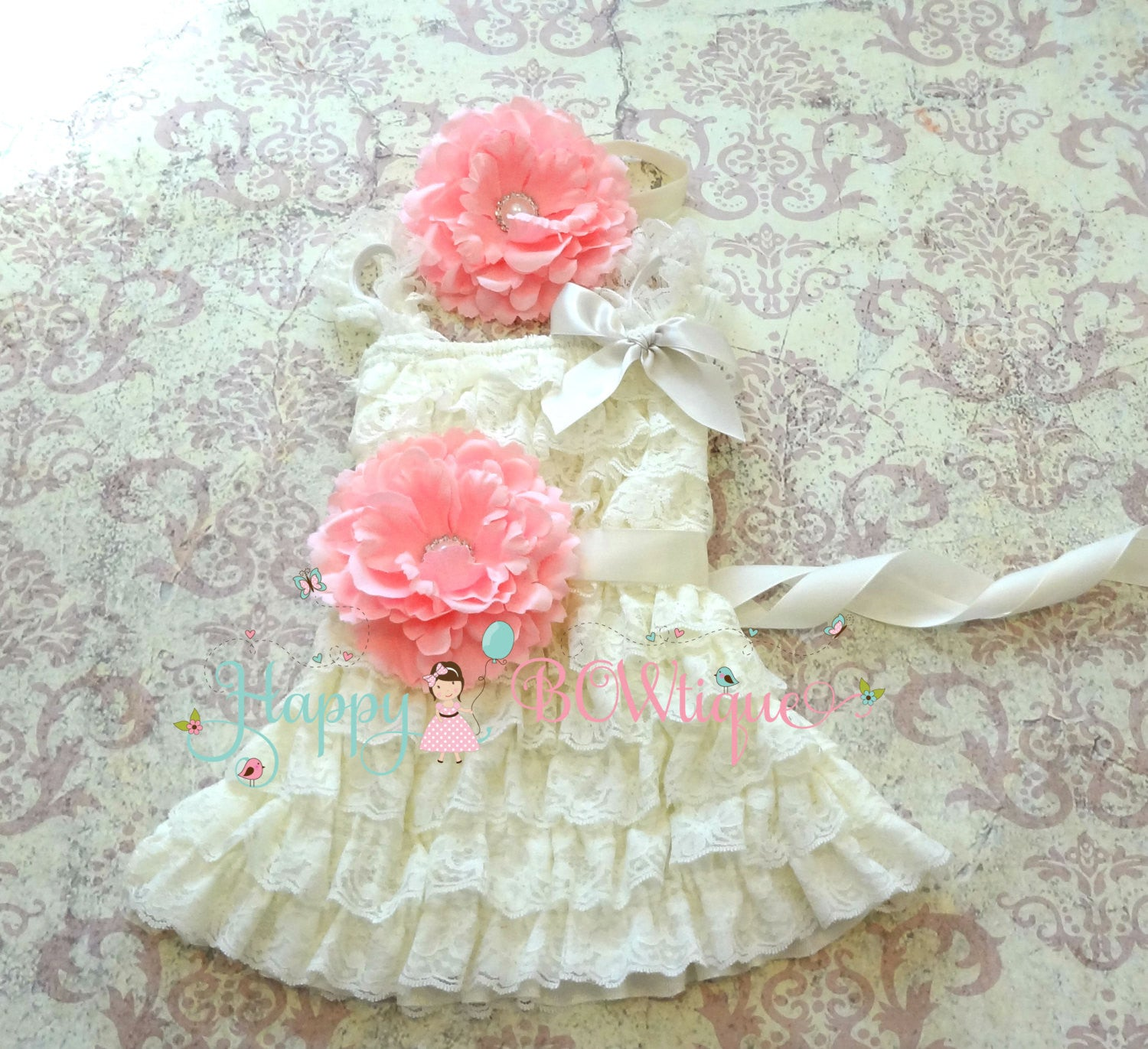 Girl Vintage Ivory Lace Dress ~ Petti Lace Ivory Flower Girl Dress - Happy BOWtique - children's clothing, Baby Girl clothing