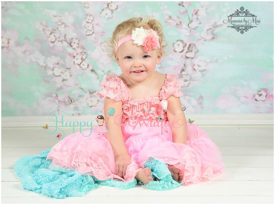Coral Pink Flower headband - Happy BOWtique - children's clothing, Baby Girl clothing