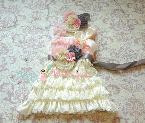 Girl's Pink Lace Dress/ Girl's Ivory Blush Pink Lace Dress set - Happy BOWtique - children's clothing, Baby Girl clothing