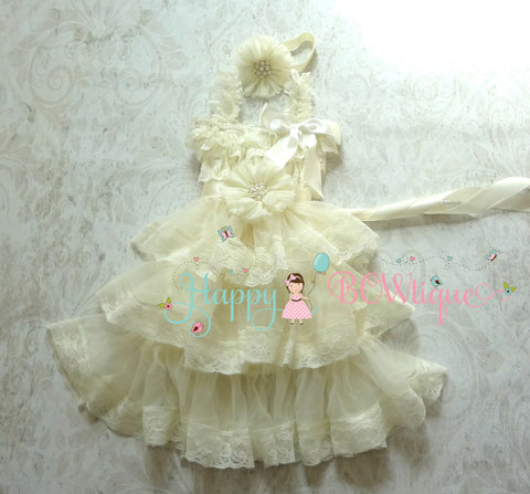 Stunning Ivory Chiffon Lace dress set / Girl Ivory Dress Set - Happy BOWtique - children's clothing, Baby Girl clothing