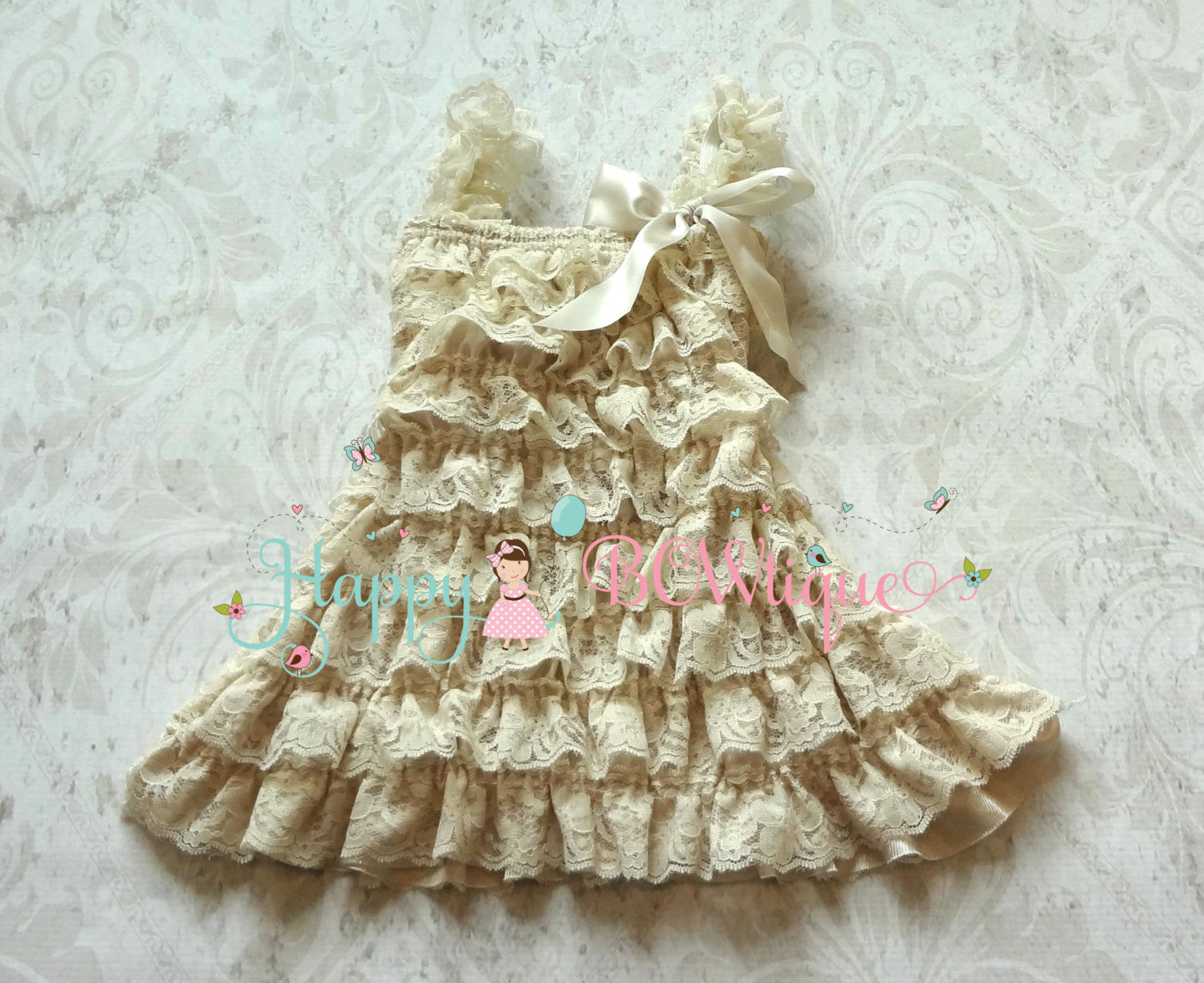 Flower girl dress/ Girl's Champagne Pearl Flower Lace Dress set - Happy BOWtique - children's clothing, Baby Girl clothing