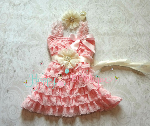 Girl's Pink Dress/ Girl's Ivory PInk Pearl Petti Lace Dress set - Happy BOWtique - children's clothing, Baby Girl clothing