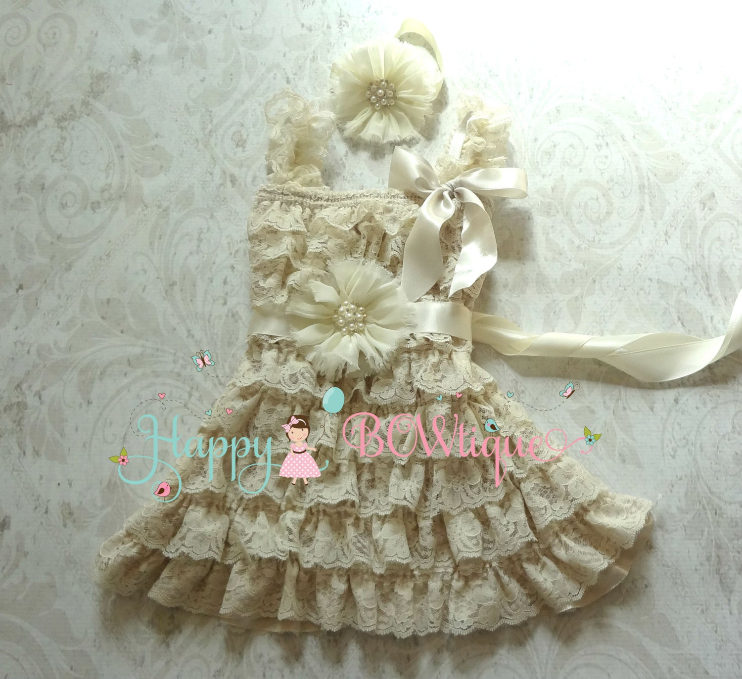 Ivory Pearl Flower Girl's Lace Dress set - Happy BOWtique - children's clothing, Baby Girl clothing
