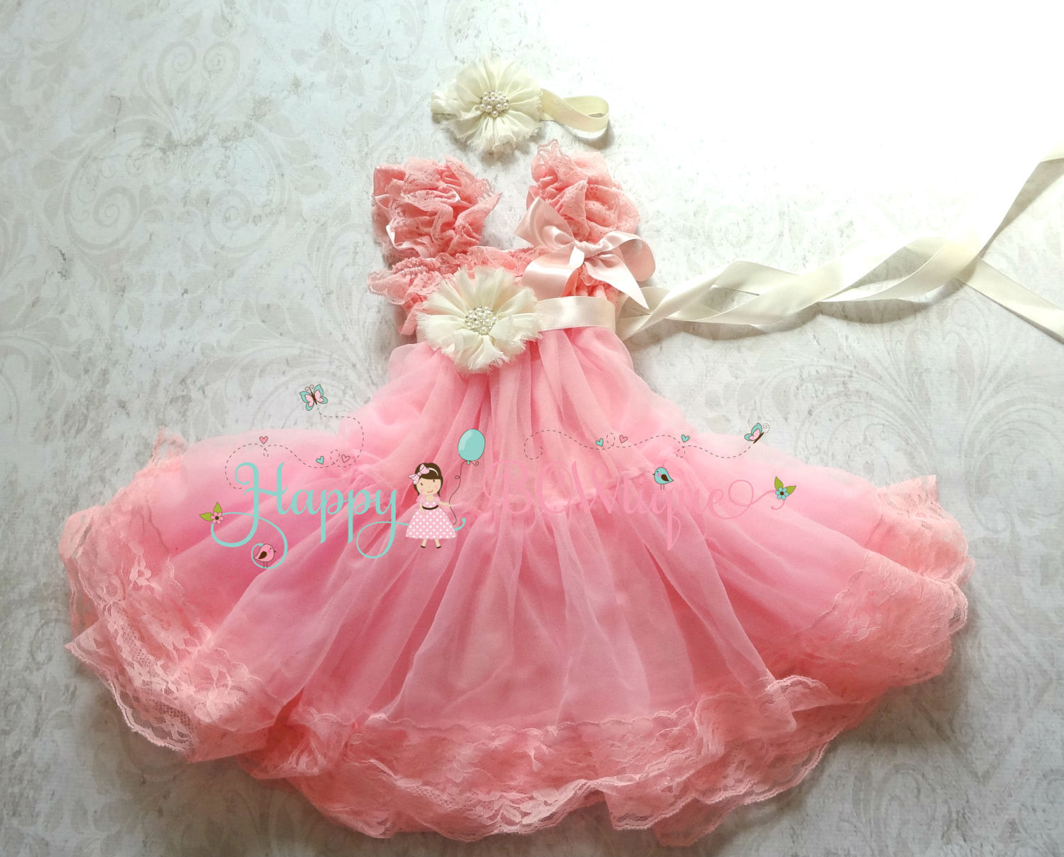 Flower Girl's Dress/ Girl's Bubblegum Pink Chiffon Lace Dress set - Happy BOWtique - children's clothing, Baby Girl clothing