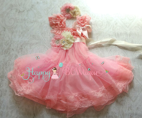 Flower girl dress/ Girl's Pink Chiffon Embellished Lace Dress set - Happy BOWtique - children's clothing, Baby Girl clothing