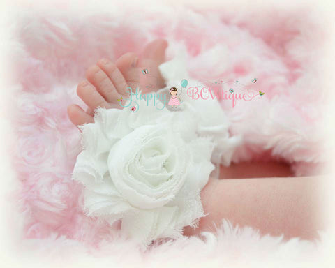 Baby Barefoot Sandals/ White Baby flower Sandals - Happy BOWtique - children's clothing, Baby Girl clothing