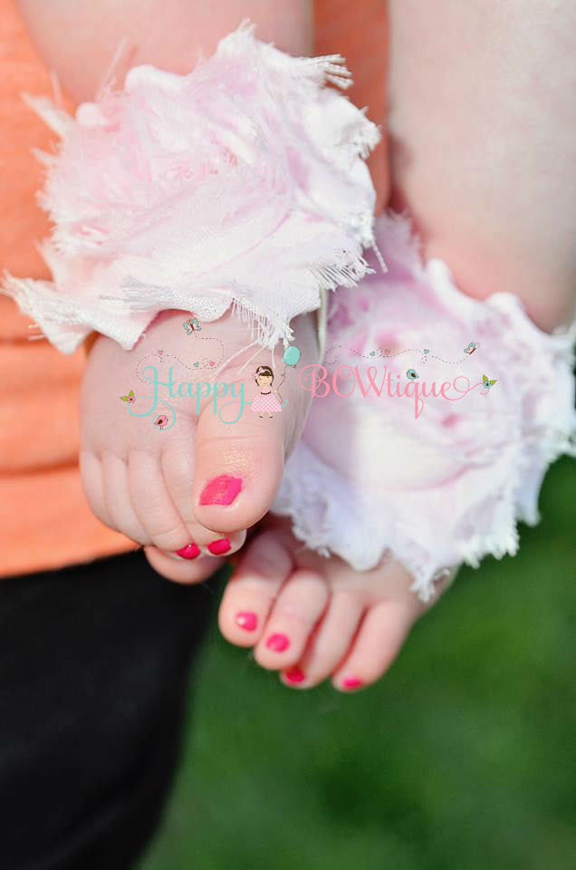 Baby Barefoot Sandals/ Baby Pink Baby flower Sandals - Happy BOWtique - children's clothing, Baby Girl clothing
