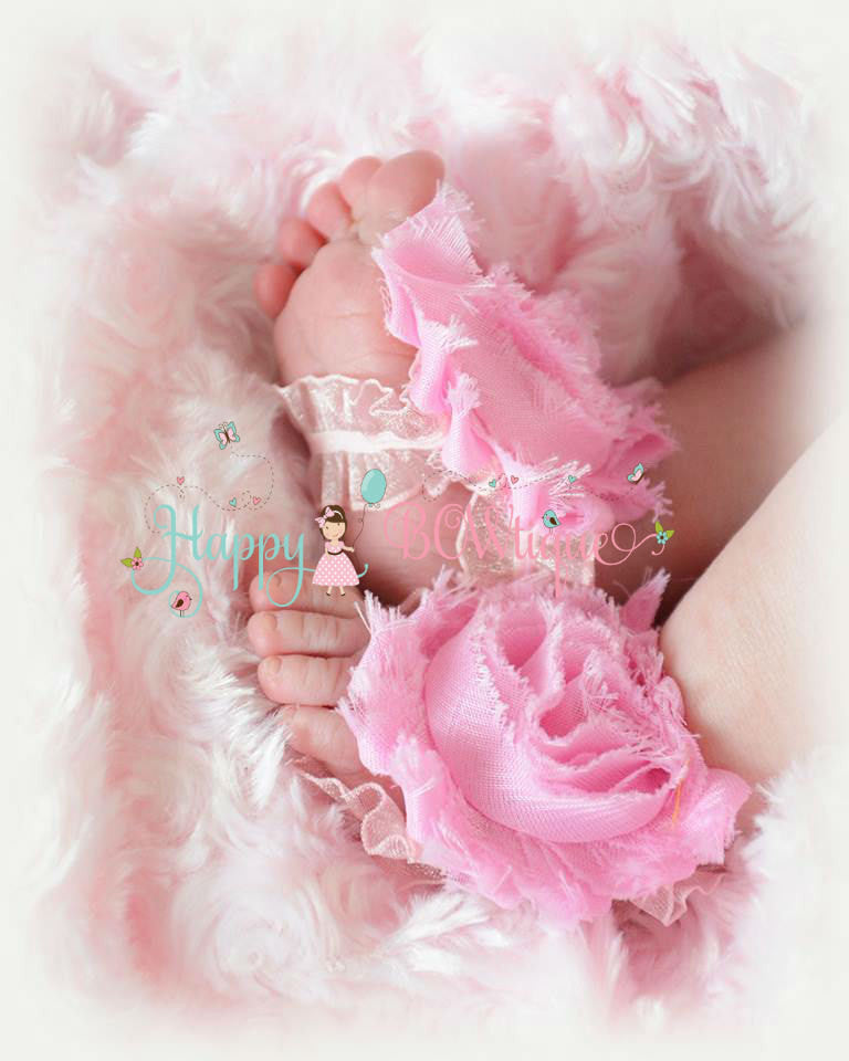 White Shabby Ruffle Baby barefoot sandals - Happy BOWtique - children's clothing, Baby Girl clothing