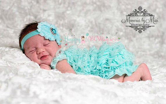 Light Aqua Lace Petti Romper set - Happy BOWtique - children's clothing, Baby Girl clothing