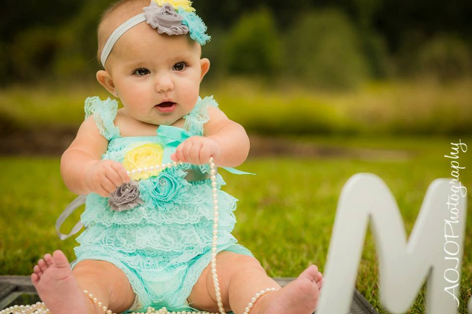 Baby Girl Aqua Lace Petti Romper set / Girl Aqua Romper - Happy BOWtique - children's clothing, Baby Girl clothing