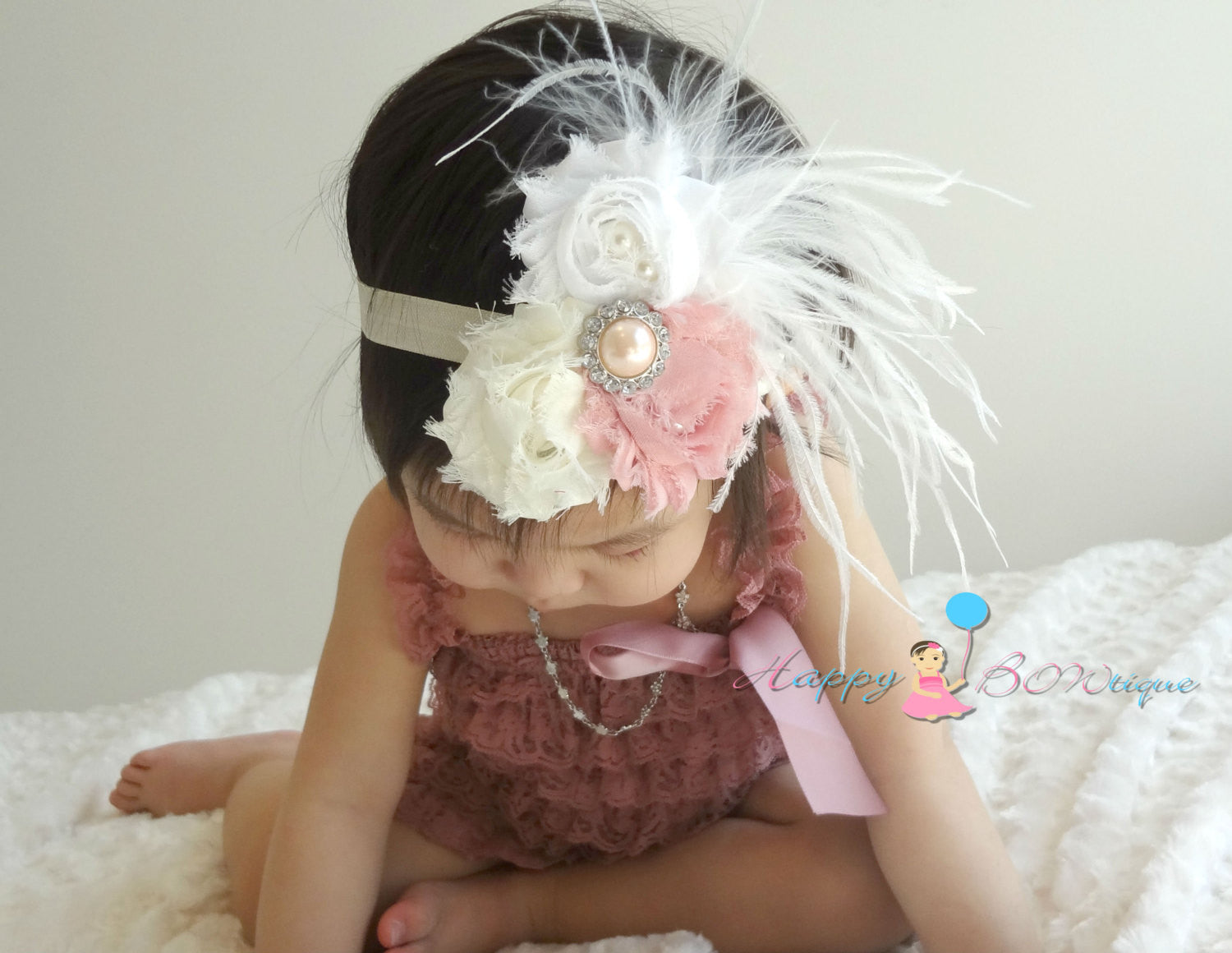 New Dusty Rose Feather Petti Lace Romper Set - Happy BOWtique - children's clothing, Baby Girl clothing