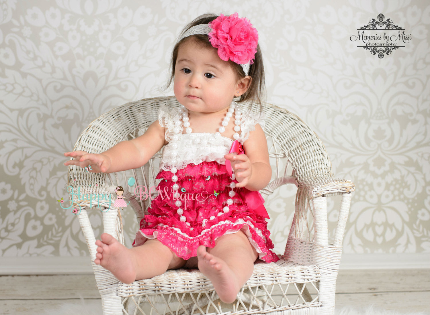 Hot Pink Chiffon Lace flower puff headband - Happy BOWtique - children's clothing, Baby Girl clothing