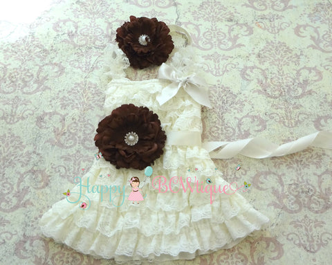 Girl's Ivory Lace Dress/ Ivory Brown Flower Girl's Lace Dress set - Happy BOWtique - children's clothing, Baby Girl clothing