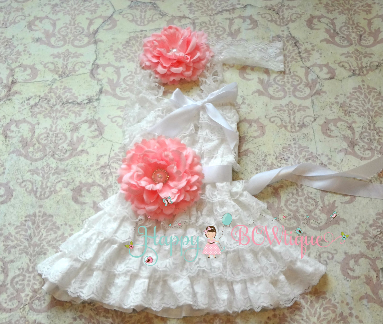 Girl's Petti Lace Dress/ Red Flower Girl's White Lace Dress set - Happy BOWtique - children's clothing, Baby Girl clothing