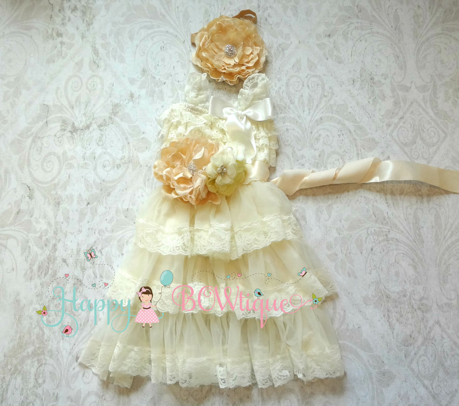 Embellished Flower girls dress / Ivory Champagne Embellished dress set - Happy BOWtique - children's clothing, Baby Girl clothing