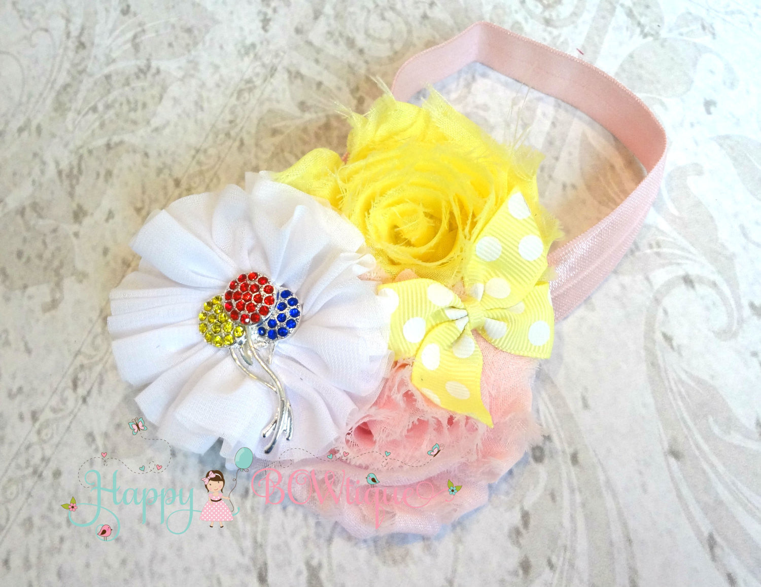 Birthday headband- Birthday #1 headband, Baby girls headband, Birthday celebration, Cake smash headband- Happy BOWtique