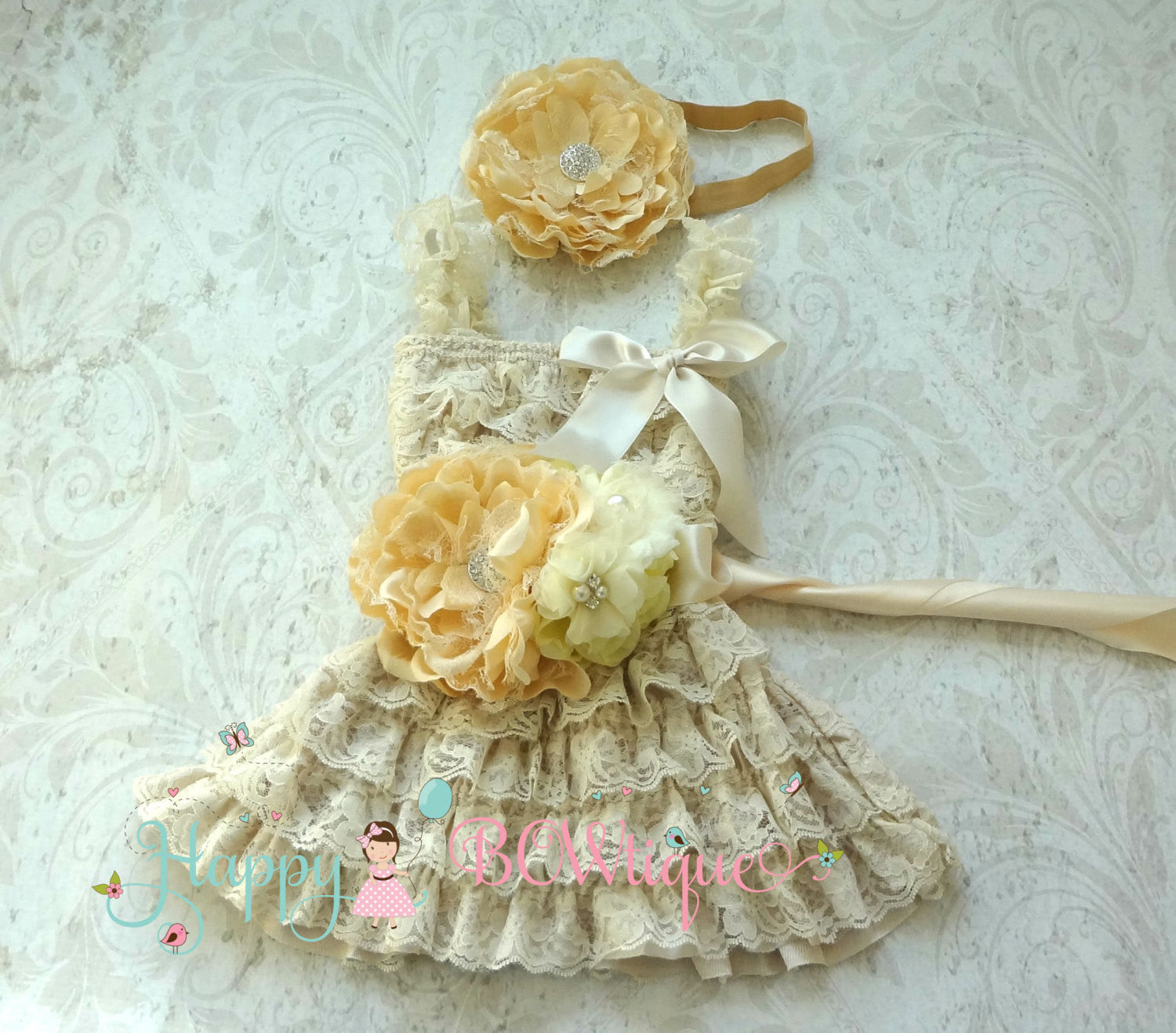 Champage Flower Girl's Dress/ Champage Flower Girl Lace Dress Set - Happy BOWtique - children's clothing, Baby Girl clothing