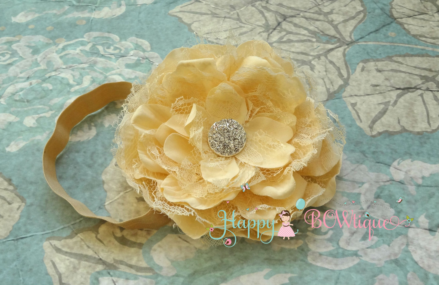Lace Peony Champagne Headband - Happy BOWtique - children's clothing, Baby Girl clothing