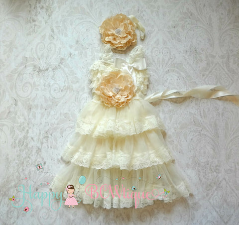 Rustic Flower girls dress / Girl Ivory Champagne Flower dress sets - Happy BOWtique - children's clothing, Baby Girl clothing