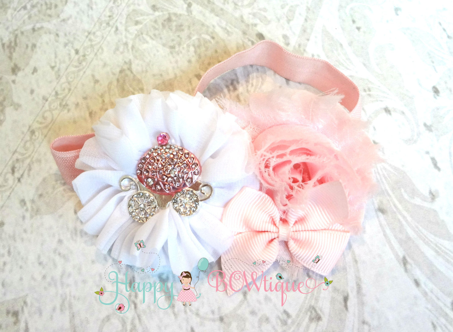 Princess Blue Carriage Headband/ Cinderella Headband - Happy BOWtique - children's clothing, Baby Girl clothing