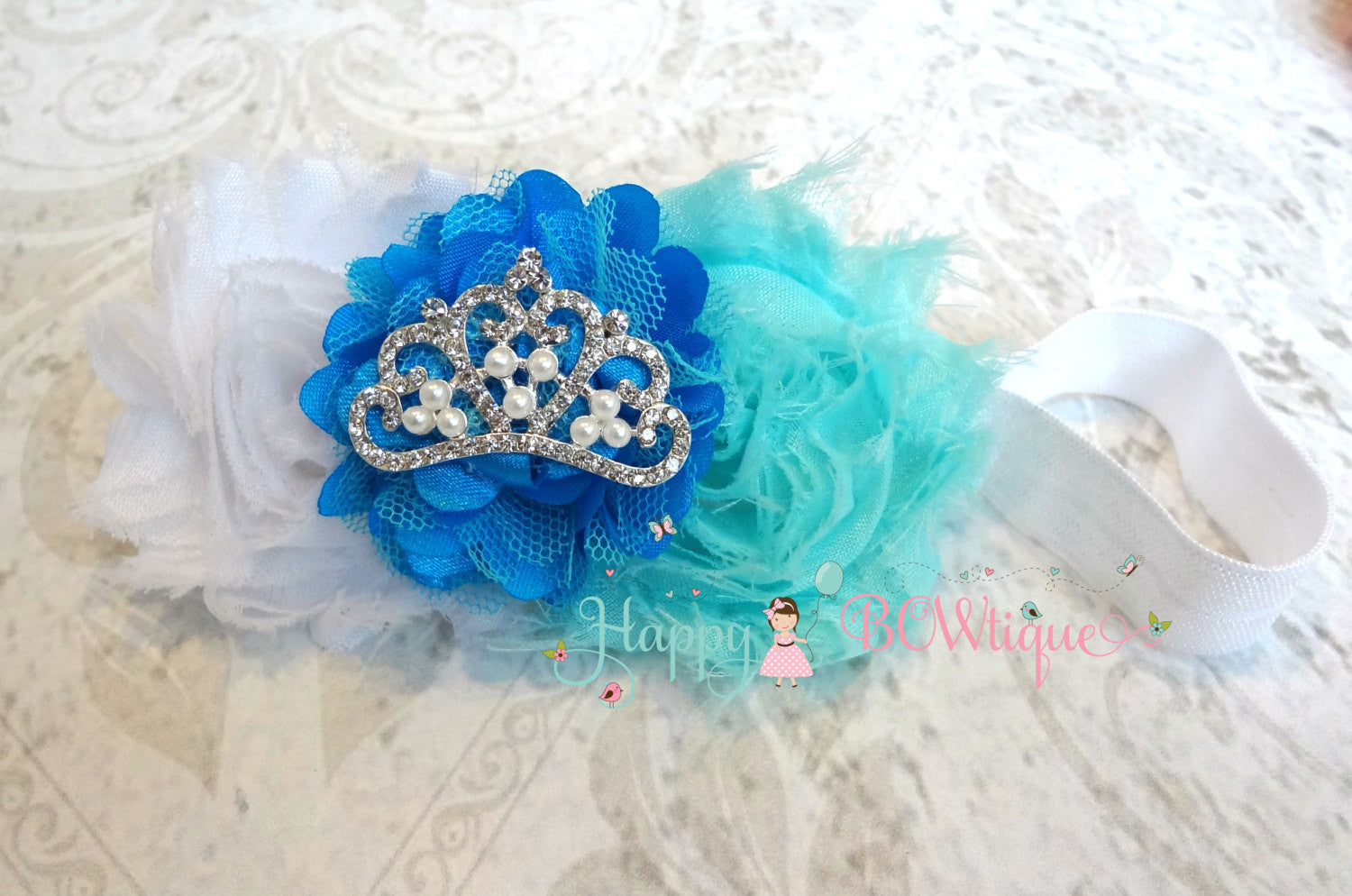 Blue Princess Snowflake Headband - Happy BOWtique - children's clothing, Baby Girl clothing