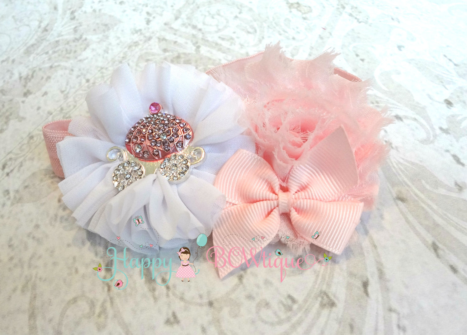 Princess Pink Carriage Headband/ Cinderalla Headband - Happy BOWtique - children's clothing, Baby Girl clothing