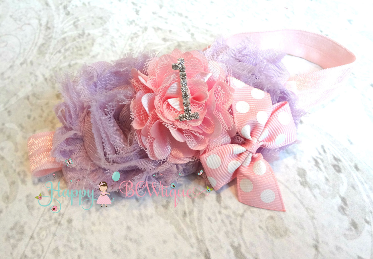 Baby 1st Birthday headband ~ Lavender Pink #1 Birthday Headband- Birthday #1- Happy BOWtique,