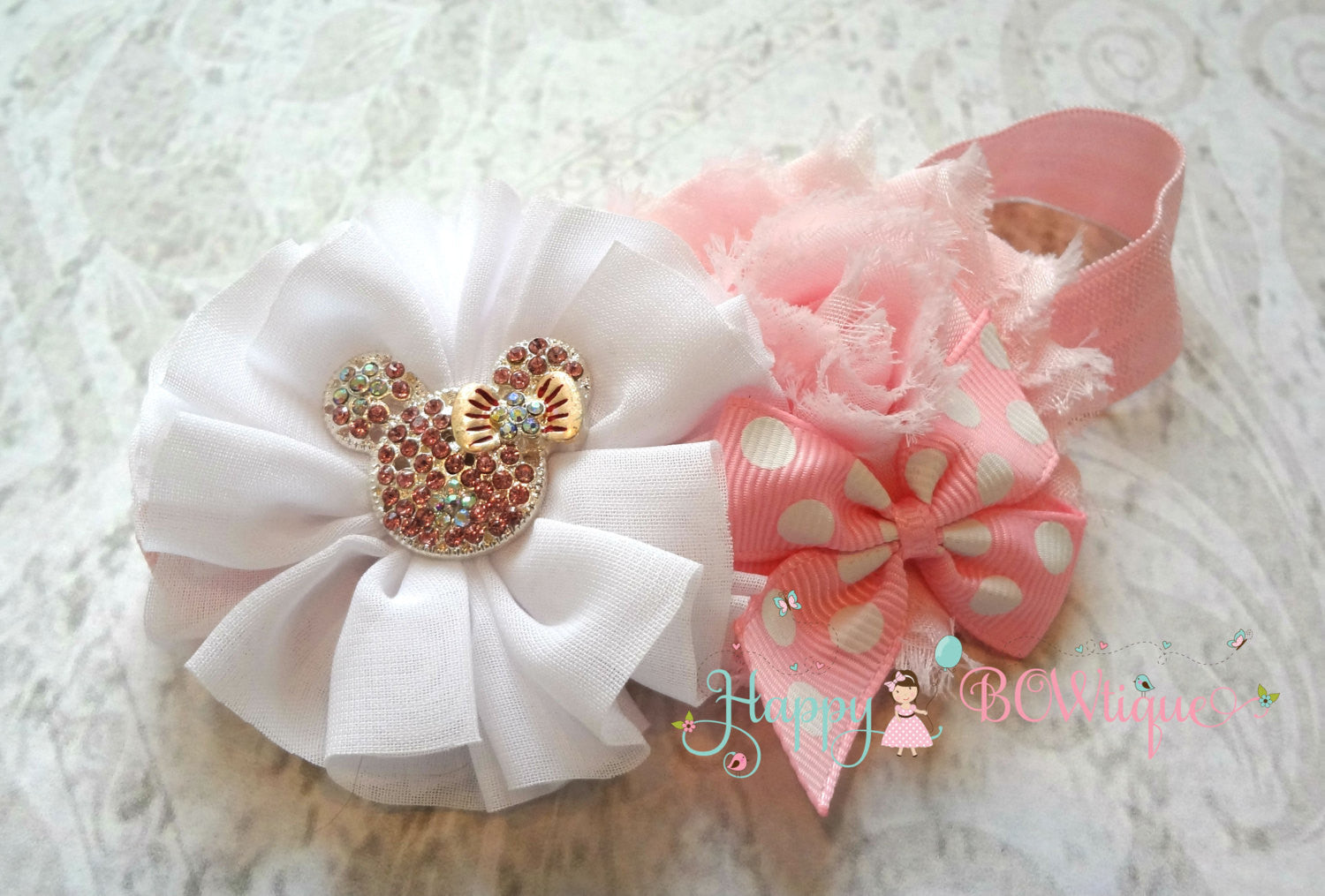 Baby Pink Mouse Headband / Pink Minnie Mouse Headband - Happy BOWtique - children's clothing, Baby Girl clothing