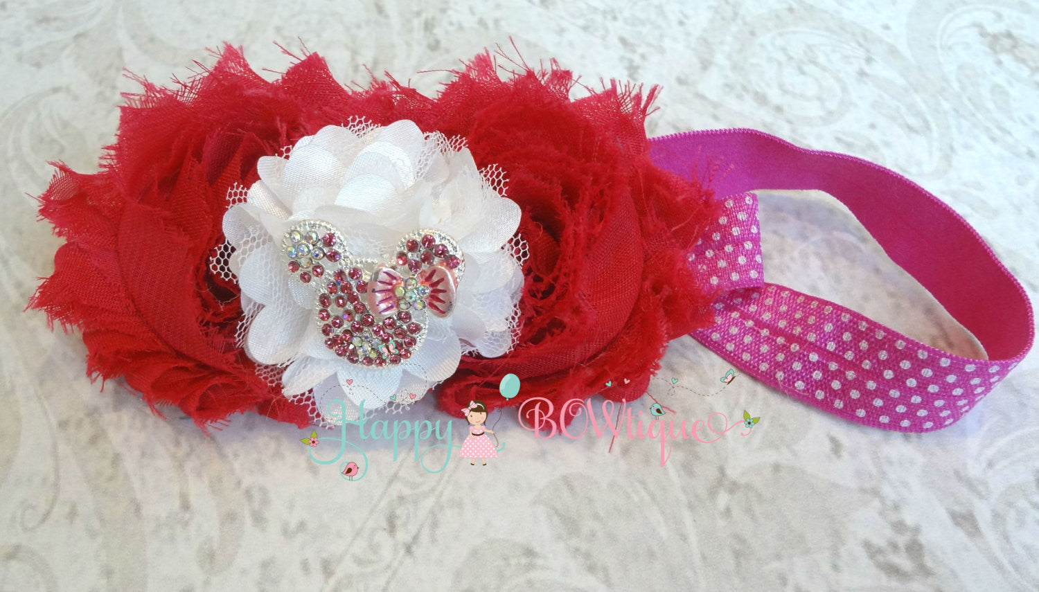 Hot Pink Girl's Mouse Headband - Happy BOWtique - children's clothing, Baby Girl clothing