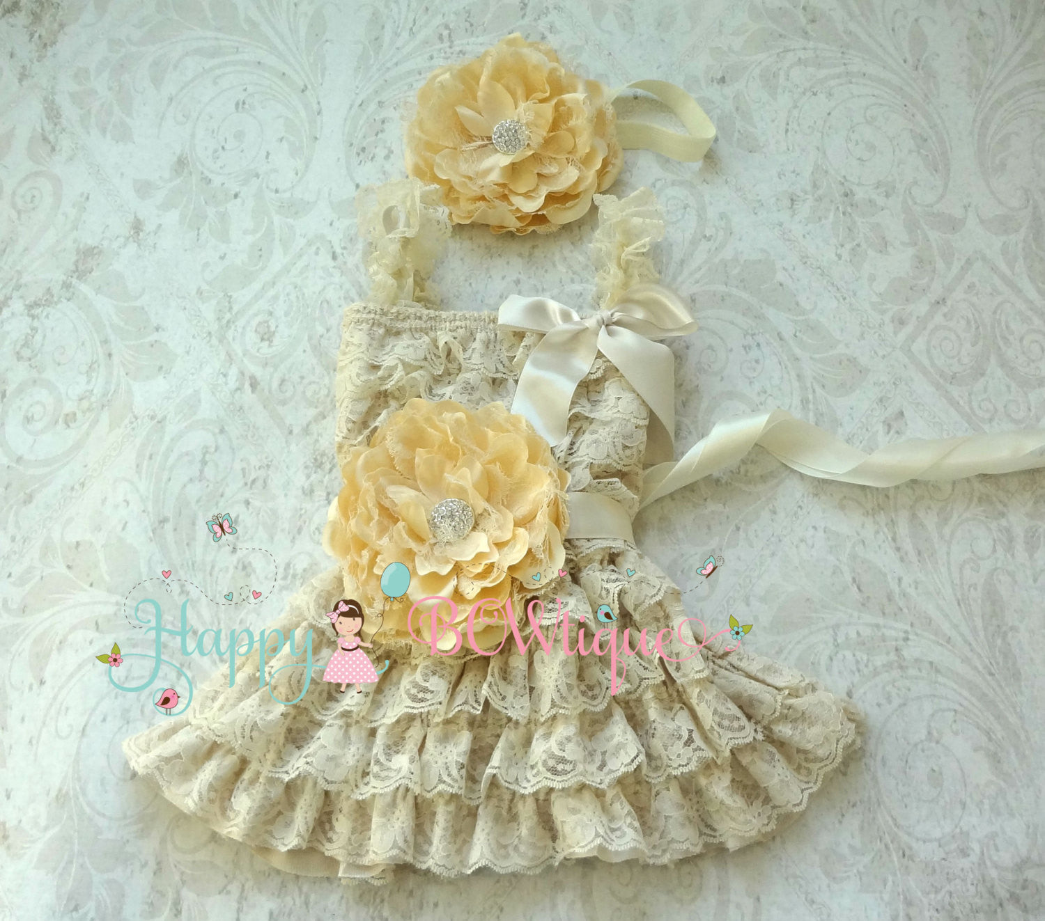 Flower girls dress/ Champage Peony Flower Girl's Lace Dress set - Happy BOWtique - children's clothing, Baby Girl clothing