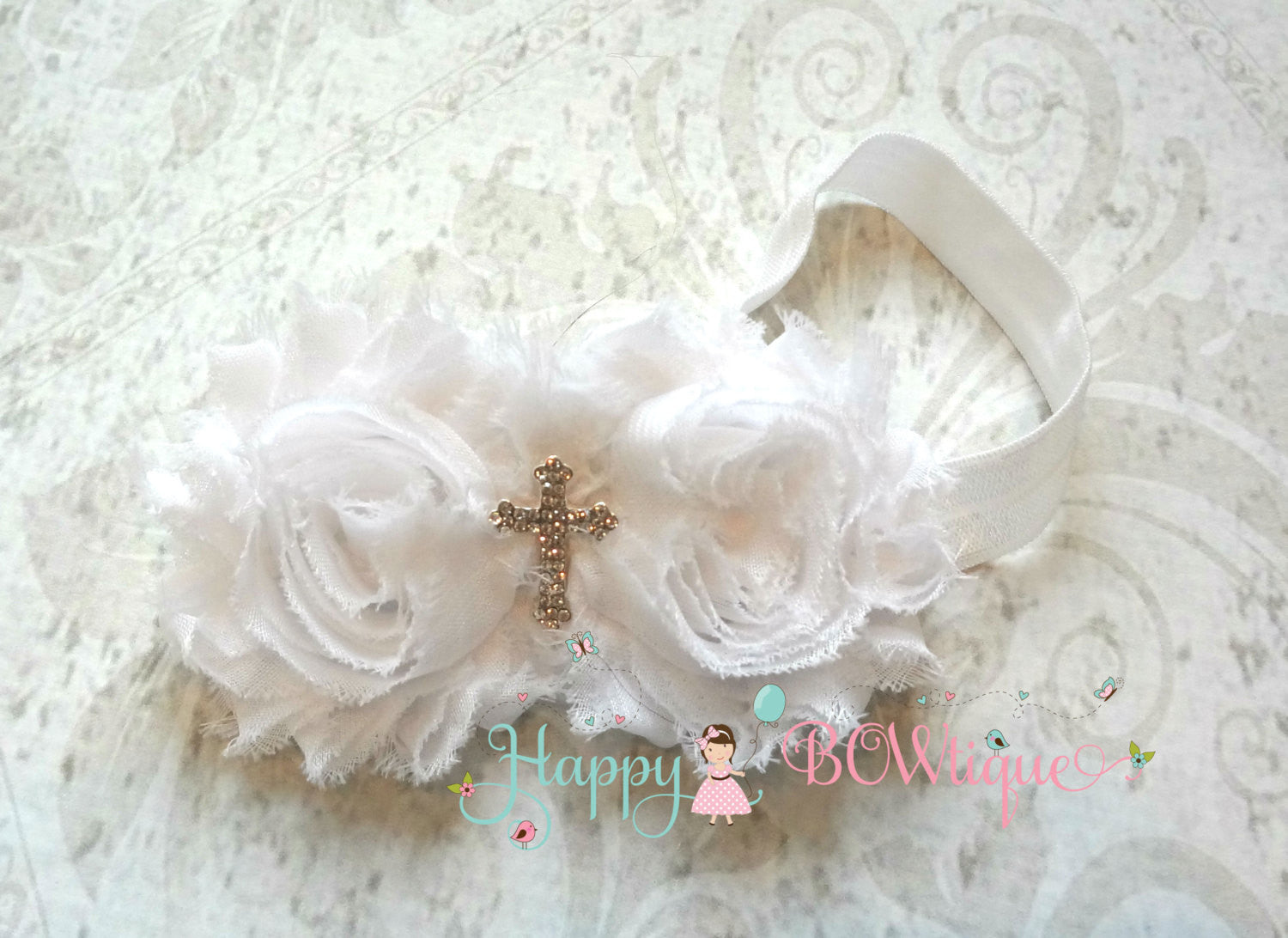 White Cross Headband - Happy BOWtique - children's clothing, Baby Girl clothing