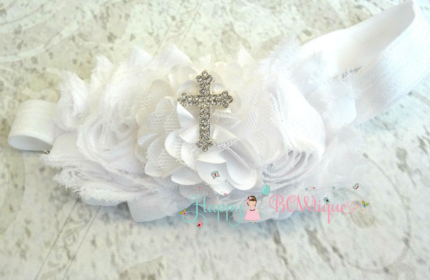 Trio White Cross Headband - Happy BOWtique - children's clothing, Baby Girl clothing