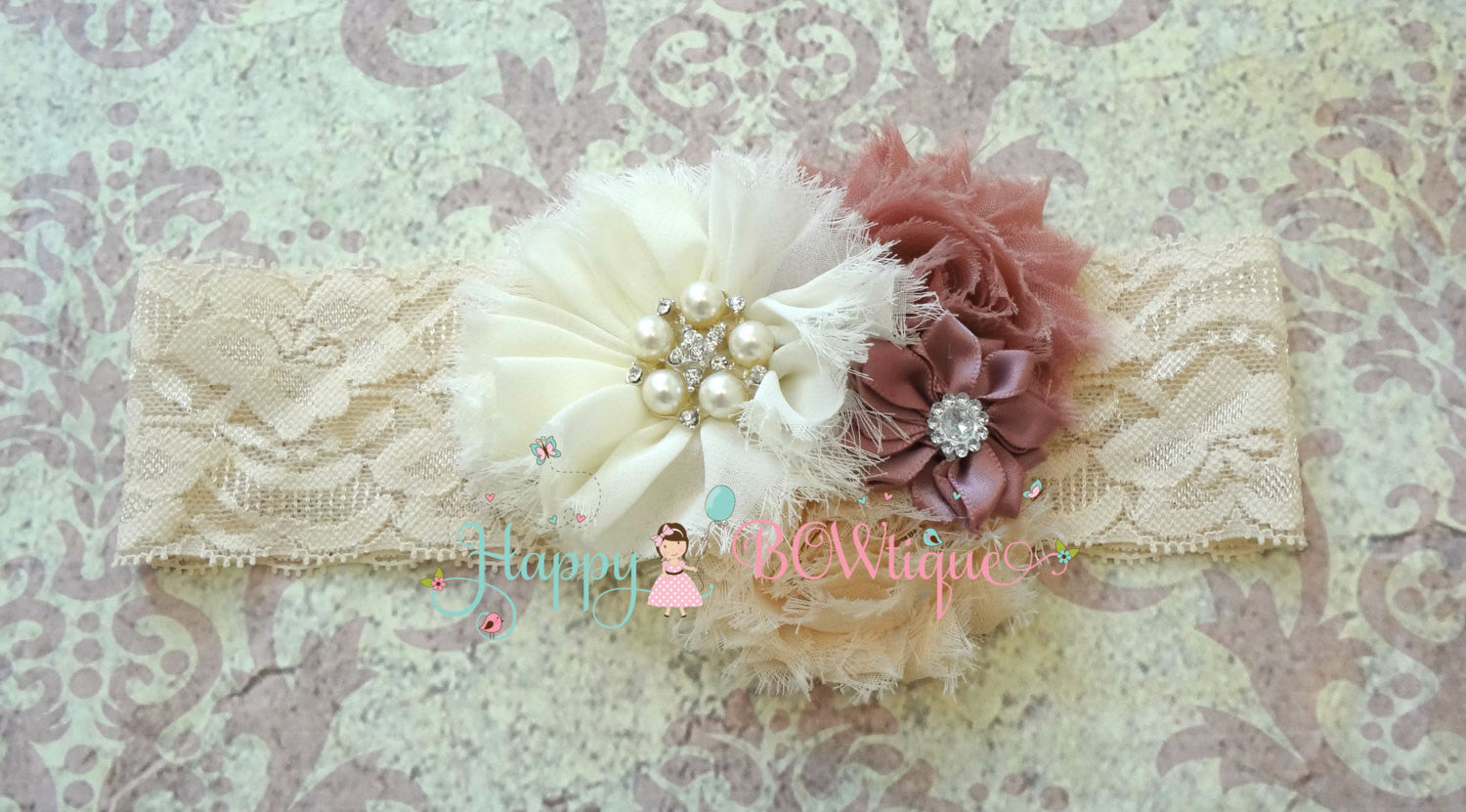 Champagne Rose flower headband - Happy BOWtique - children's clothing, Baby Girl clothing