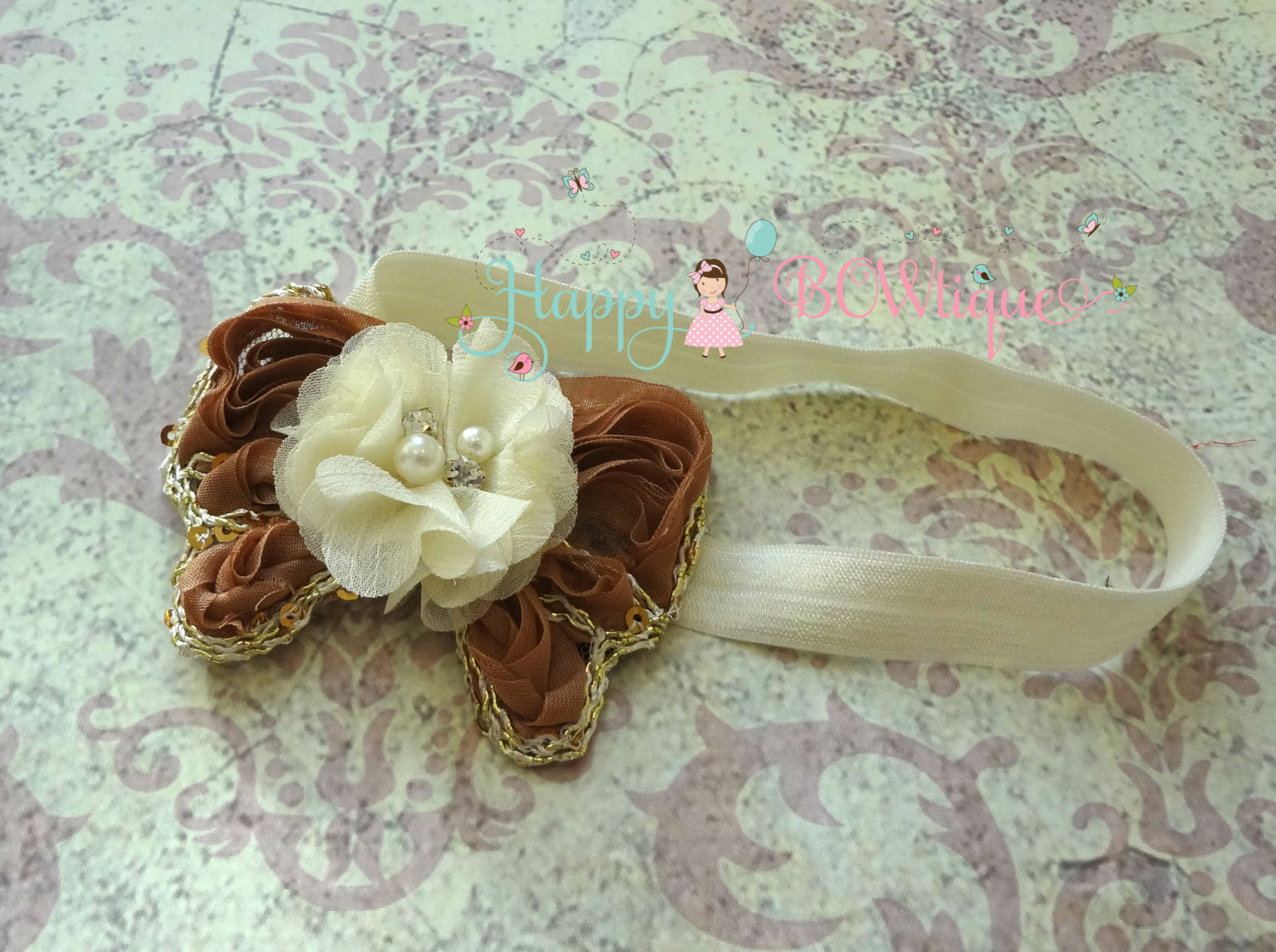Rustic Chiffon Gold Butterfly Feather Headband - Happy BOWtique - children's clothing, Baby Girl clothing