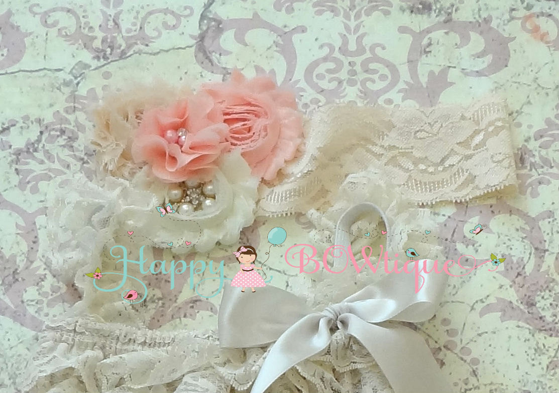 Champagne Blush Pink flower headband - Happy BOWtique - children's clothing, Baby Girl clothing
